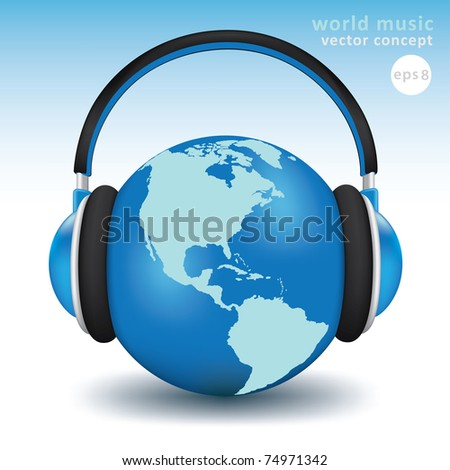 Earth with headphones. World music concept high detailed 3d vector - stock vector