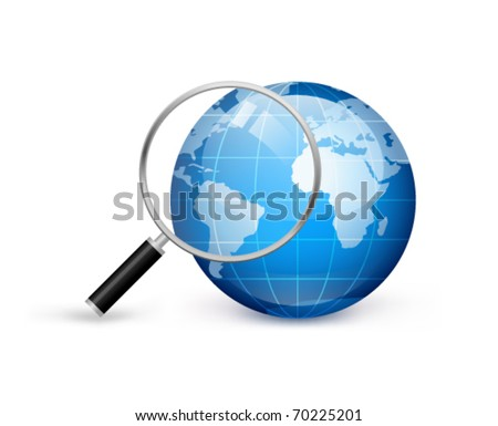 Earth with magnifying glass on a white background