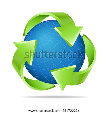 Earth with recycle symbol - stock vector