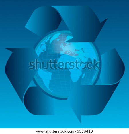 Earth with recycle symbol on abstract background