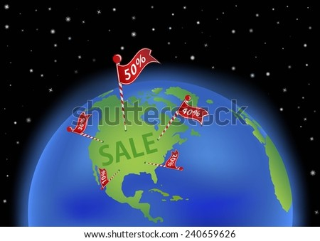 earth with sale banner. All objects are placed on separate and named layers. Enjoy) - stock vector