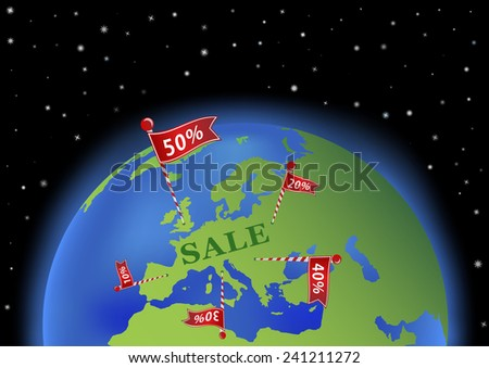 earth with sale banner in Europe - stock vector