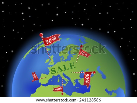 earth with sale banners in Europe. All objects are placed on separate and named layers.  - stock vector