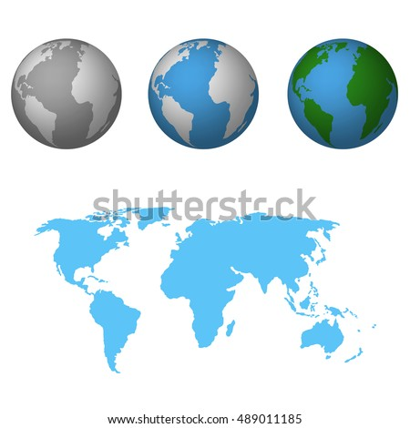 Earth world map flat icon vector stock vector 2018 489011185 earth with world map flat icon vector illustration gumiabroncs Images