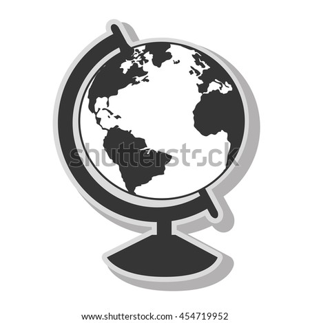 Earth world map sphere in black and white colors, isolated flat icon. - stock vector