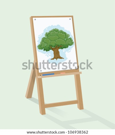 Easel and tree drawing - stock vector