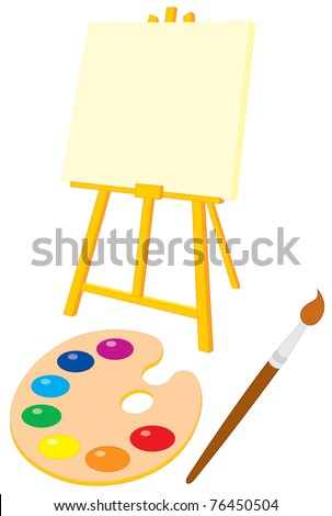 Easel, palette and brush - stock vector