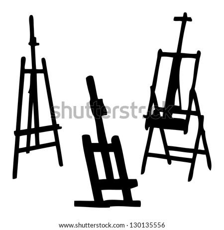 easel vector silhouette - stock vector