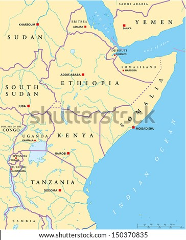 Good East Africa Political Map   Political Map Of East Africa With Capitals,  National Borders,