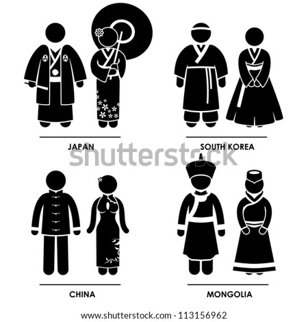 East Asia - Japan South Korea China Mongolia Man Woman People National Traditional Costume Dress Clothing Icon Symbol Sign Pictogram - stock vector