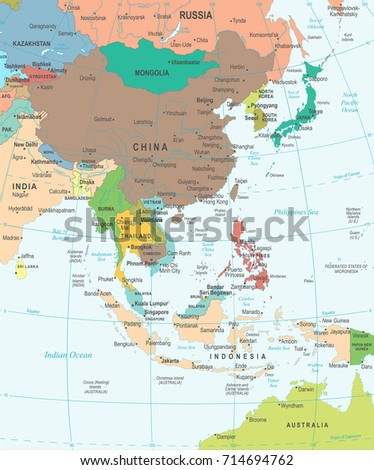 east asia map detailed vector illustration