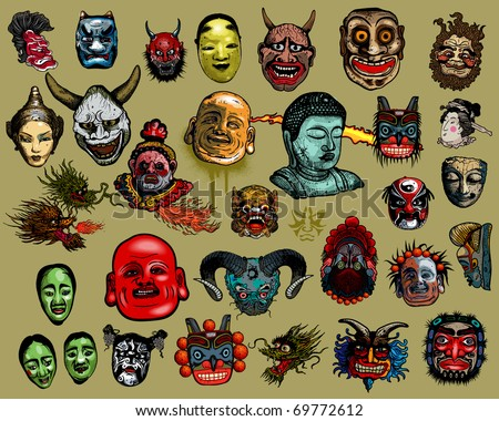 East-Asian masks - stock vector