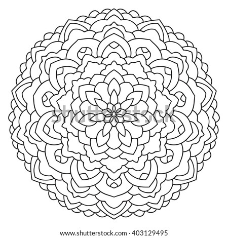 East Circular Pattern Mandala Coloring Page For Adults Turkish Islamic Oriental