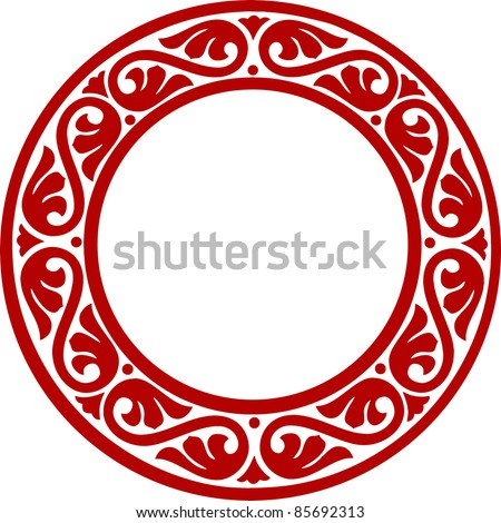 East-European traditional decorative circle framework with abstract flowers - stock vector