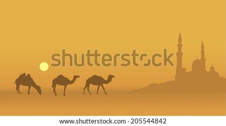 East illustration on Ramadan - stock vector