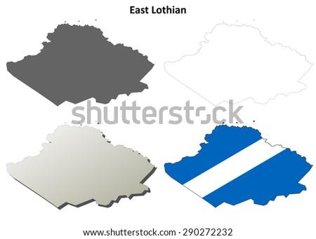 East Lothian blank outline map set - stock vector