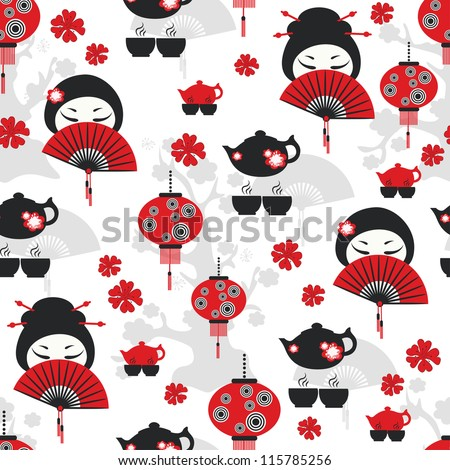 East tea time seamless pattern - stock vector
