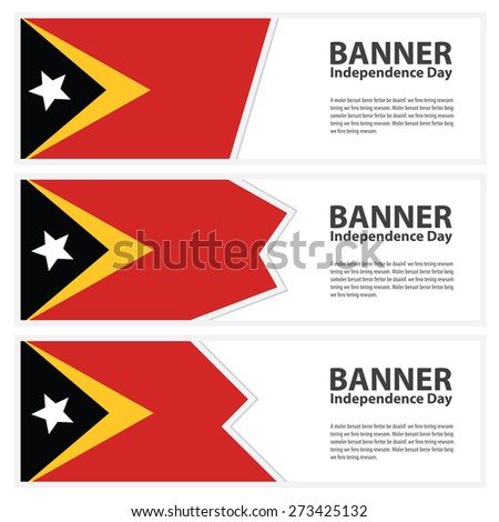 east timor Flag banners collection independence day - stock vector