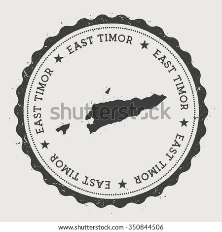 East Timor. Hipster round rubber stamp with East Timor map. Vintage passport stamp with circular text and stars, vector illustration - stock vector