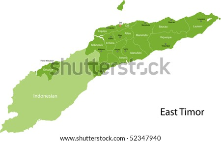 East Timor map with districts borders and the capital cities