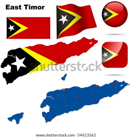 East Timor vector set. Detailed country shape, flags and icons isolated on white background. - stock vector