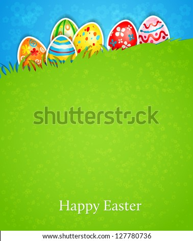 Easter background and egg in grass - stock vector