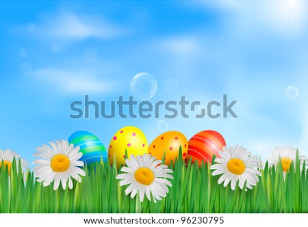 Easter background. Easter eggs with daisy on fresh green grass. Vector. - stock vector