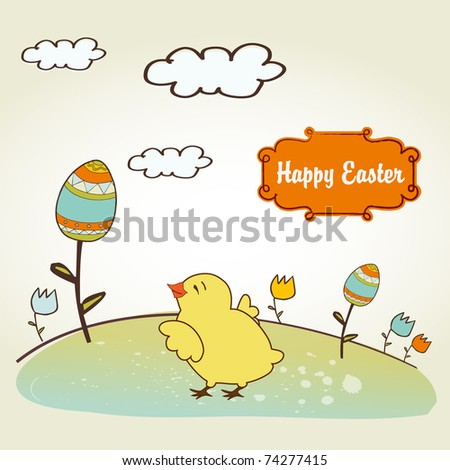 Easter background with chicken - stock vector