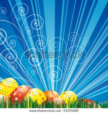 Easter background with colorful easter eggs over blue background. - stock vector