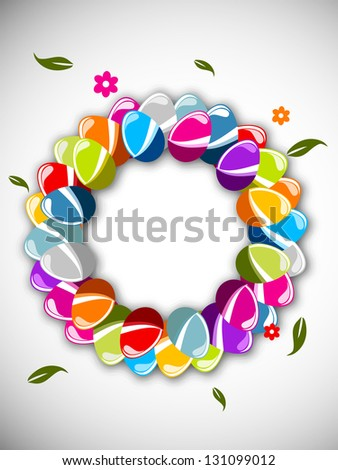 Easter background with colorful, glossy eggs on grey background.