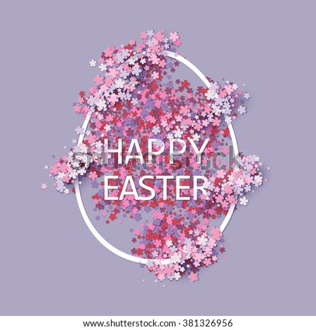 Easter background with egg and spring flower. Vector illustration - stock vector