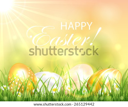 Easter background with golden eggs in the grass and bright Sun, illustration. - stock vector