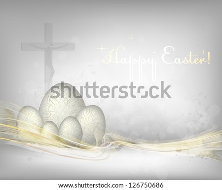 Easter background with golden waves.. File contains transparency effects and gradient mesh. - stock vector