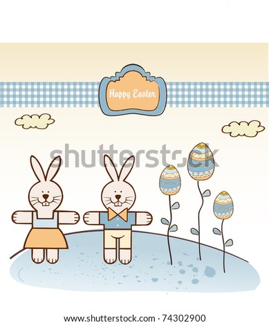 Easter background with rabbit - stock vector