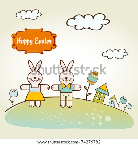 Easter background with rabbits - stock vector