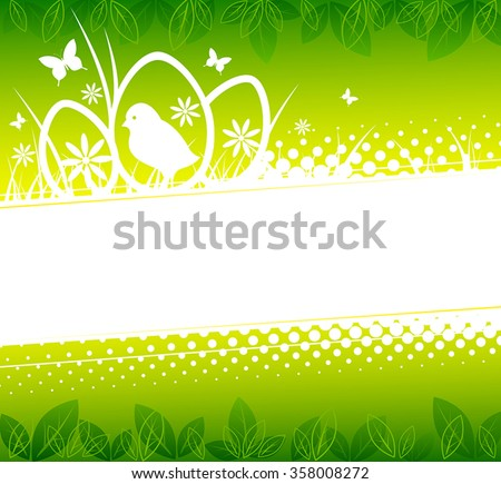 Easter background with silhouettes of chicken, eggs and spring flowers - stock vector