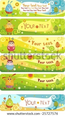 easter banners - stock vector