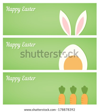 Easter banners with egg, rabbit ears and carrot - stock vector