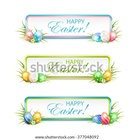 Easter banners with multicolored eggs in a grass, illustration. - stock vector
