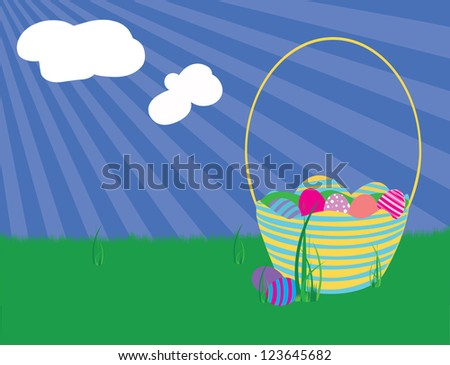 Easter basket and eggs on grass in front of a blue sky. - stock vector