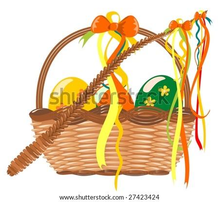 Easter basket vector on white background - stock vector