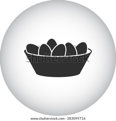 Easter basket witg eggs simple icon  on round background - stock vector