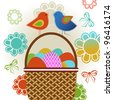 Easter basket with birds - stock vector