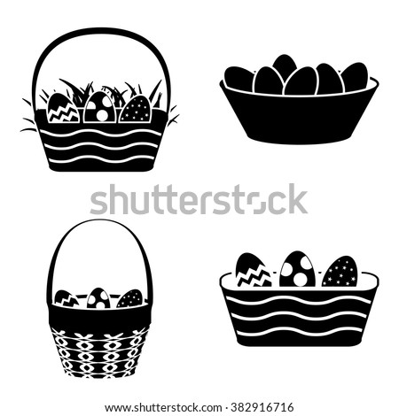Easter basket with eggs  simple icons set - stock vector