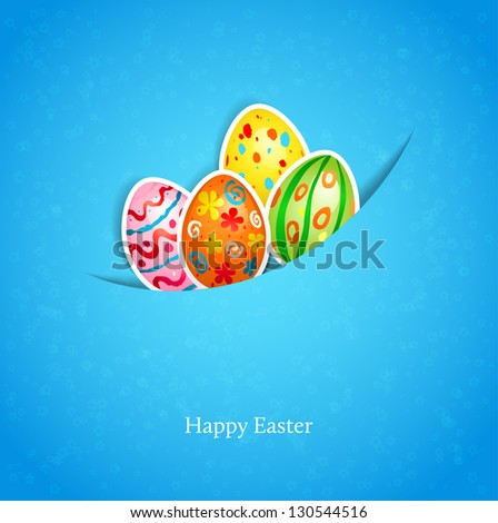Easter blue background with egg - stock vector