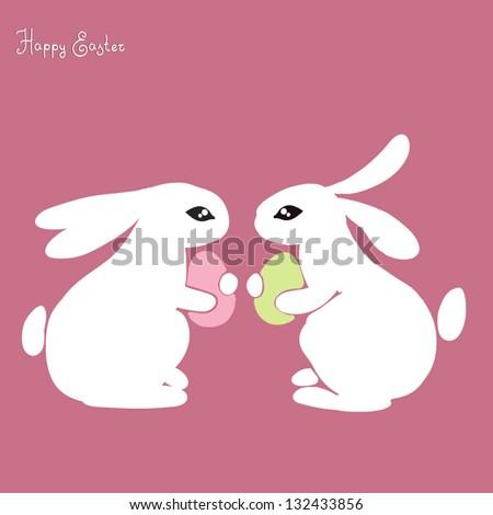Easter bunnies. - stock vector