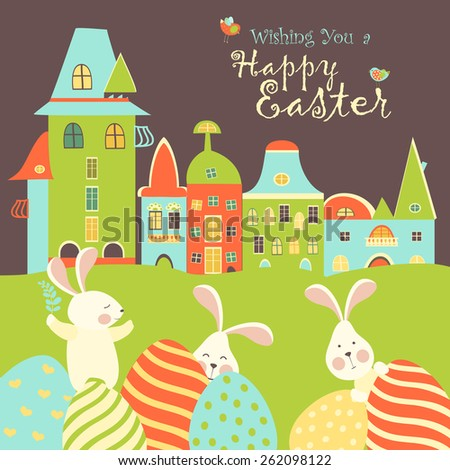 Easter bunnies and easter eggs. Vector illustration - stock vector