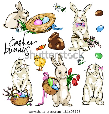 Easter Bunnies Collection.  - stock vector