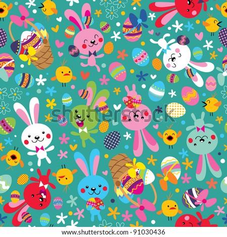Easter bunnies pattern - stock vector