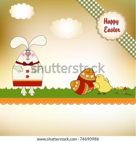 Easter bunny - stock vector